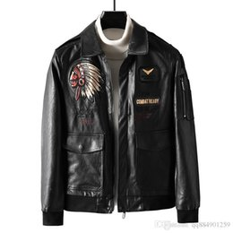 leather sleeve patches UK - Mens Pu Designer Leather Jacket Explosion Lapels Embroidered Motorcycle 2019 Spring Autumn Mens Casual Fashion Jaqueta De Couro Size M-5XL