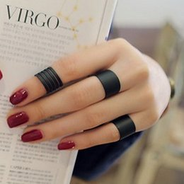 Punk Rings Australia - 3 pcs Women's Ring Set Black Stack Plain Above Knuckle Band Mini Rings Punk Rock Jewelry For Party Gifts