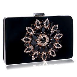 ae7f835e5 Velvet Fashion Women Clutches Flower Diamonds Metal Evening Bag Blue Red  Black Color Rhinestones Wedding Party Purse Bags #467932