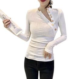 Korean Fashion Tights Australia - 2019 Autumn Women Top T-shirts Oblique Collar long sleeve Solid Sexy Tight Women Clothing Slim T-shirt Korean Clothes Fashion
