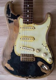 Guitar Custom Shop Black NZ - Custom Shop John Mayer Black One Guitar Aged Relic Tribute Strat Big Dipper pups Heavy Relic ST Electric Guitar Aged Gold Hardware