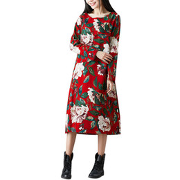 07c913f8 2109 Feitong Women Dress Casual Loose Floral Printed Long Sleeve Plus Size  3XL Folk-Custom Ladies Knee-Length Dress