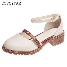 Ankle Chain Pumps NZ - Dress Shoes Covoyyar 2019 Sandals Women Summer Ankle Strap Block Heel Fashion Chain Strap Pumps Vintage Oxford Woman Whh124