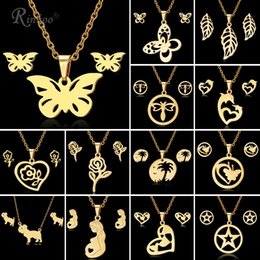 $enCountryForm.capitalKeyWord NZ - RINHOO Butterfly Rose Flower Heart Leaf Gold Color Stainless Steel Sets For Women Necklace Earrings Jewelry Set Wedding Jewelry