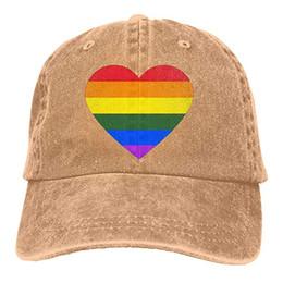 adbbbeee09b 2019 New Custom Baseball Caps Print Hat Gay Pride Rainbow Heart Mens Cotton  Adjustable Washed Twill Baseball Cap Hat