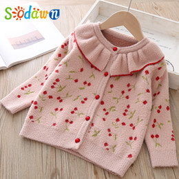 korean kids clothes winter autumn Australia - Sodawn 2019 Autumn Winter Girls Clothes Sweaters Coat Korean O-Neck Tops Kids Top Cherry Pattern Cardigan Children Costume