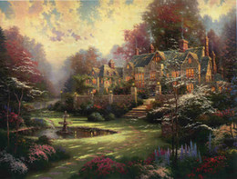 thomas kinkade prints Australia - Gifts Hot Wall Art Thomas Kinkade Landscape Oil Painting Reproduction Giclee Print On Canvas Modern Home Art office Living Room Decor tms051