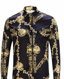 neck chains men NZ - Fashion Designer Golden Chain Print Vintage Mens Shirts Designer Lapel Neck Long Sleeve Luxury Tops Men Casual Tees