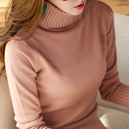 0974bd8ead European and American fashion turtleneck sweater female autumn new 2019  loose student long-sleeved knit bottoming shirt autumn and winter sl