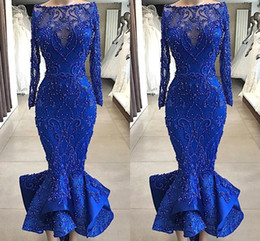 Long fitted bLack evening gowns online shopping - Real Images Luxury Royal Blue Mermaid Prom Evening Dresses Bateau Neck Beaded Pearls Fitted Bodice Ruffles Ankle Length Short Cocktail Gowns