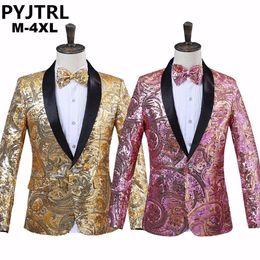 ce7b0ac1f90447 Mens Sequin Jacket Stage Australia - Pyjtrl Mens Pink Gold Flower Sequins  Fancy Paillette Wedding Singer