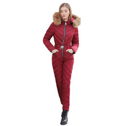 warm jumpsuits women Australia - New Elegant Women Ski Suit Casual Long Zipper Warm Cotton Padded Hooded Jacket Coat One Piece Jumpsuits Winter Tracksuits