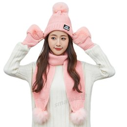 $enCountryForm.capitalKeyWord NZ - Female Winter Warm Hat Beanies Thick Infinity Scarf Hat Gloves Set Girls Warm 3 Pieces Sets Winter Caps Scarf Gloves For Women