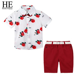 Floral Print Shirts Baby UK - wholesale Boys Boutique Clothing Fashion Baby Boy Clothes Summer Set Gentleman Print Floral Bow Tie Shirt+Shorts Suits