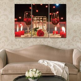 Piece kitchen wall art canvas online shopping - Canvas Paintings Pictures Piece Modern Vins Red Wine Cup Bottle Wall Art Painting Set Bar Dinning Room Kitchen Decor No Frame