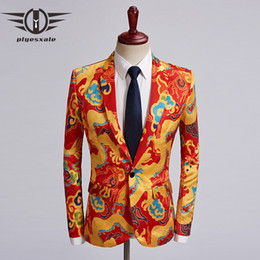 $enCountryForm.capitalKeyWord NZ - Plyesxale 2018 Autumn Mens Casual Blazers Jacket Chinese Style Red Gold Mens Dragon Printed Blazer Singer Stage Prom Blazer Q474