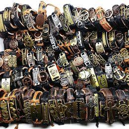 $enCountryForm.capitalKeyWord Australia - Mixmax 100pcs Genuine Leather Bracelets Vintage Retro Copper Alloy Men Women's Top Tribal Punk Surfer Cuff Bangle Wholesale Y19051101