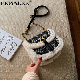 ladies fur handbags Australia - Tweed Chains Small Handbag Women Wool Fur Border Winter Shoulder Bag Ladies Fashion Saddle Messenger Bag Designer Crossbody Bags