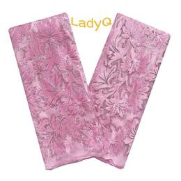 Aso Ebi 2019 Telas de encaje de tul Baby Pink Tela africana del cordón de alta calidad con secuencia Terciopelo Materiales Tela de encaje nigeriano en venta