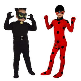 d11ddf62d Cartoon Anime Theme Costume Teenager Halloween Outfits Children Carnival Cosplay  Fancy Dress Cat Noir Jumpsuit Miraculous Ladybug Costumes