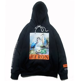 China The European and American Popular Logo Hoodies Black Crane Heron Print Hoodie HERON PRESTON Hoodies Asian Yards suppliers