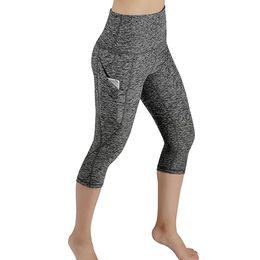 Wholesale leggings with pockets resale online – Women Crop Leggings With Pocket Female Sport Fitness Workout High Waist Short Leggings Solid Slim Push Up Trouser Female Pant