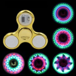 Wholesale Cool coolest led light changing fidget spinners toy kids toys auto change pattern 18 styles with rainbow light up hand spinner