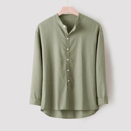 simple shirt blouse Australia - Casual Men's Shirts Cotton And Linen Soft Breathable Tops Male Long Sleeve Blouse Button Simple Style Vacation Clothes#G8