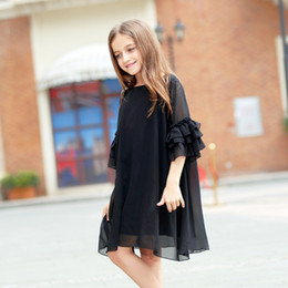 12 year dresses sleeves NZ - Girls Dress 8 10 12 14 15 Years Summer Flare Sleeve Chiffon Black Dress For Little Girl Age 6 7 8 9 Party Teenage Girls ClothesMX190822