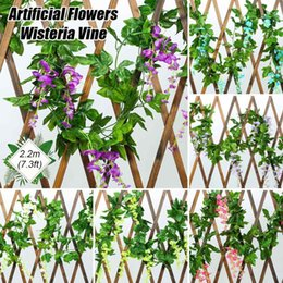 vines leaf UK - 2.2m Artificial Flowers Silk Wisteria Vine with Green Leaves For Home Wedding Decoration Fake Leaf DIY ing Garland Flowers