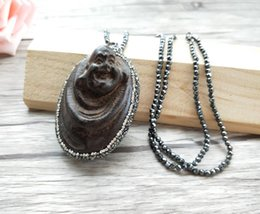 Buddha Jewelry For Women NZ - 4 pieces Hematite beads Chains necklace, wood Maitreya Buddha Head Pendant Jewelry necklaces For women NK303