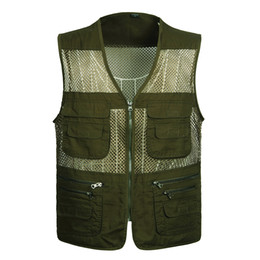 vest model men UK - Middle-aged men's spring and autumn models multi-pocket summer thin section casual outdoor mesh vest