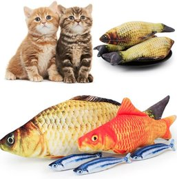 stuffing for toys NZ - Cat Toy Plush Creative 3D Carp Fish Shape Gift Cute Simulation Fish Playing Toy For Pet Gifts Catnip Fish Stuffed Pillow Doll YSY155