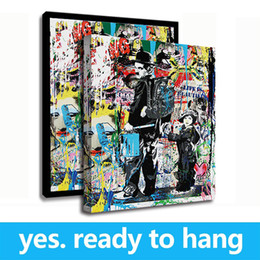 Art Canvas Prints Australia - Modern Banksy Urban Art Charlie Chaplin Canvas Painting HD Printed On Canvas Wall Art Picture - Ready To Hang - Framed