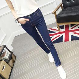 $enCountryForm.capitalKeyWord Australia - Autumn Self-cultivation In Waist Jeans Woman Thin Blue Bound Feet Pencil Trousers Elastic Force