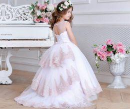 $enCountryForm.capitalKeyWord Australia - Cute Jewel White Flower Girl Dress with Train Blush Junior Bridesmaid Dress Lace Baby girl Tulle Wedding Dress Tutu Kids Girls Pageant