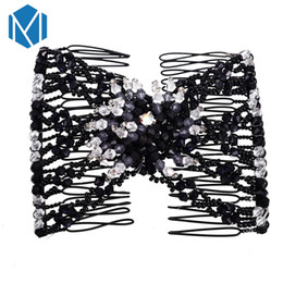 flower hair clip vintage Australia - M MISM Vintage Hot Sales Women Fashion Beads DIY Magic Gun Flower Double Magic Slide Metal Comb Clip High Elasticity Hair Disk