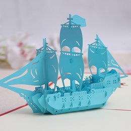 Paper Art Pop Up Cards Australia - Greeting Cards Birthday Party Favors Birthday Party Decorations Kids Sailling Boat Art Paper Pop Up Cards Greeting Card