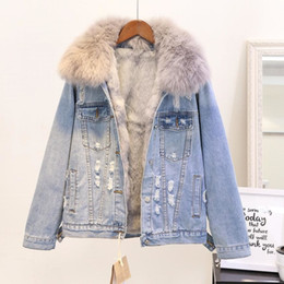 $enCountryForm.capitalKeyWord Australia - Winter Fashion Women Warm Coat Natural Fox Fur Collar+real Rabbit Hair Liner Denim Jacket Female Thicken Loose Fur Outwear L1784 Y190827
