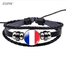 mexican flag jewelry NZ - Soccer Leather Bracelet Football Glass Metal Buckle Punk Jewelry France Russia UK Flag Bracelet Men Women Punk