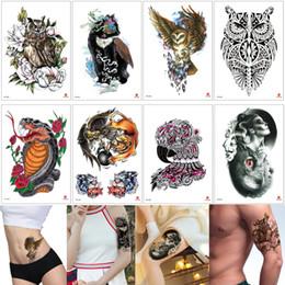 29c443e9a Fashion Fake Eagle Temporary Tattoos Sticker for Women Men Arm Leg Body Art  Owl Snake Kylin Scorpion Lion Tattoo Design Water Transfer Paper