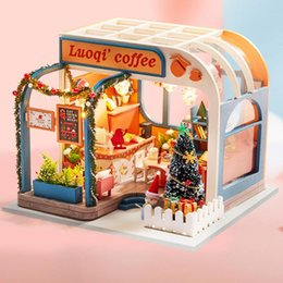 New Wooden Diy Dollhouse Toy Miniature Box Puzzle Dollhouse Diy Kit Doll House Furniture Coffee Shop Model Gift Toy For Children