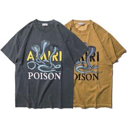 new hip hop streetwear tees 2019 - Fashion Snake Print T-shirt 100% Cotton Short Sleeve Tee Men Women New Streetwear Hip Hop Club Tee Grey Khaki SLI0307 ch