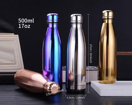 $enCountryForm.capitalKeyWord NZ - 100pcs Cola Shaped Bottle Stainless steel Gold Rose Gold Insulated Double Wall Vacuum High-luminance Water Bottel Creative Thermos Bottle