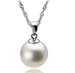 $enCountryForm.capitalKeyWord Australia - High Quality 925 Sterling Silver 12mm Pearl Pendant Necklace Choker With Chain Fashion Silver Jewelry Cheap Necklaces For Women