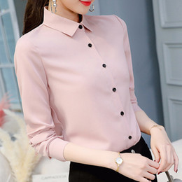 $enCountryForm.capitalKeyWord Australia - Summer Spring Women Tops Long Sleeve Casual Chiffon Blouse Female V-neck Work Wear Solid Color White Office Shirts For Women
