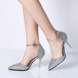 elegant gold women shoe 2019 - Fashion Buckle Crystal Bling Pumps Women Elegant Thin High Heels Point toe Party Wedding Shoes Woman Sexy Bridal Pumps S