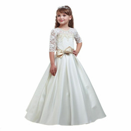 $enCountryForm.capitalKeyWord UK - 2019 New Flower Girl Dresses V Back Ball Gown Communion Party Pageant Dress for Little Girls Kids Children Dress for Wedding