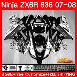 $enCountryForm.capitalKeyWord Australia - Bodywork For KAWASAKI NINJA ZX 636 600 CC ZX-636 ZX6R 07 08 34HC.82 ZX600 ZX 6R 6 R 600CC ZX-6R black white 2007 2008 ZX636 07 08 Fairing
