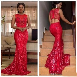 jewel spring Australia - Red Sheer Jewel Mermaid Prom Dresses Lace Sexy Open Back 2020 African Style Evening Party Gowns Black Girls Simple Spring Vestidos De Fiesta